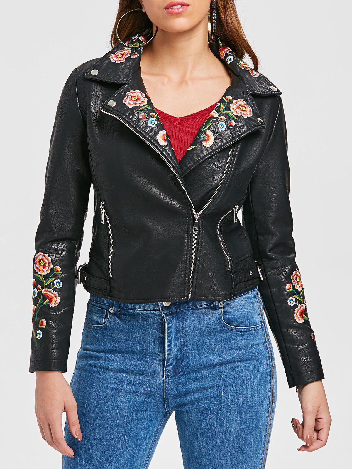 Online Embroidered PU Motorcycle Jacket