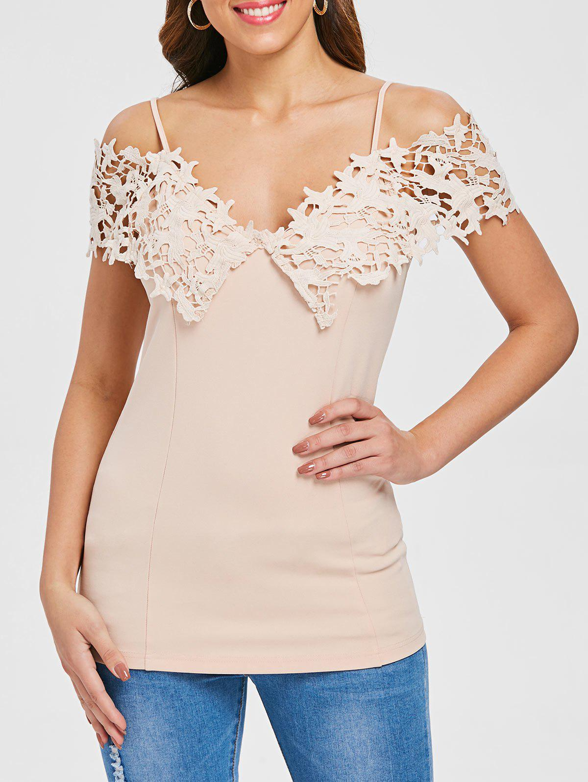 Unique Spaghetti Strap Lace Applique Open Shoulder Tee