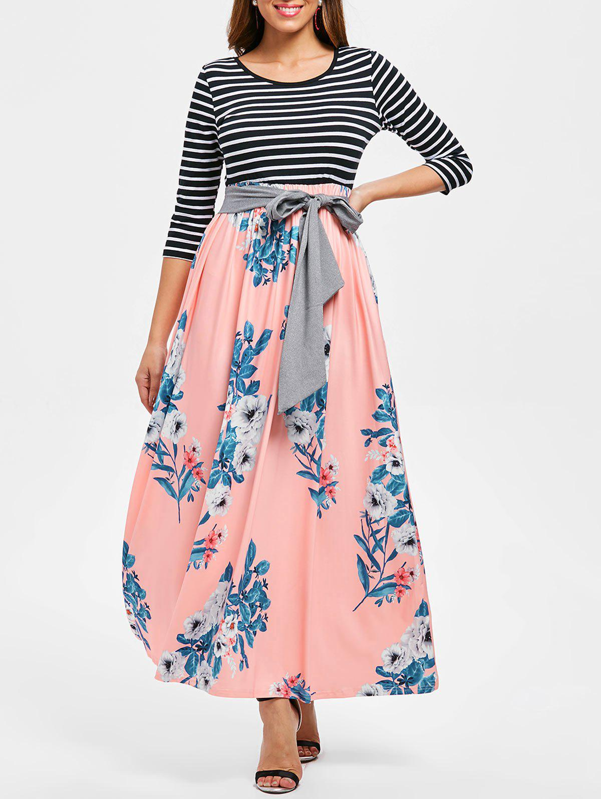 New Floral Print Striped Panel Maxi Dress