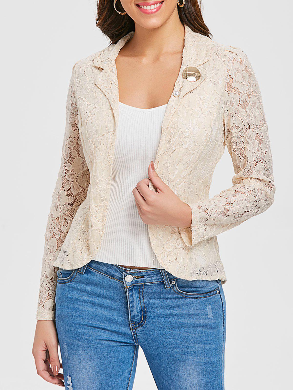 Outfit Lapel Back Split Lace Blazer