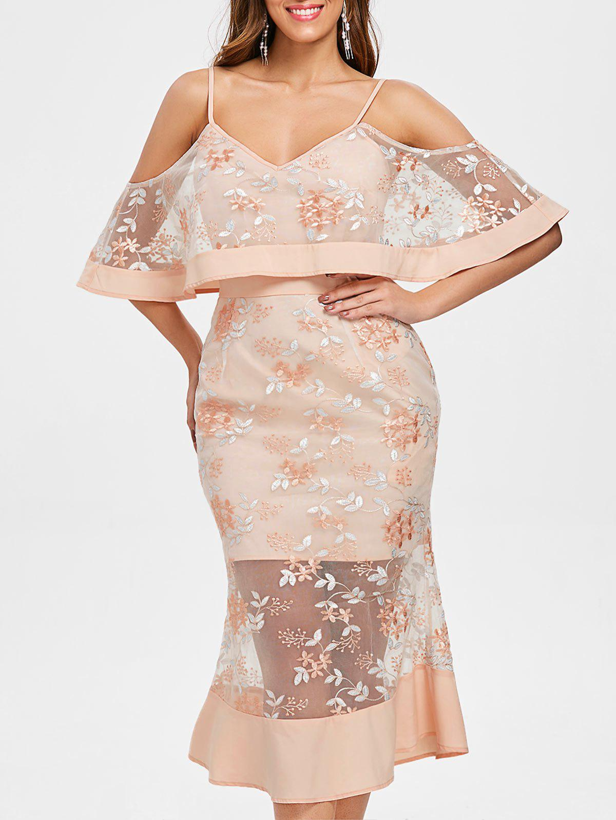 Outfit Cold Shoulder Floral Leaf Embroidery Lace Dress