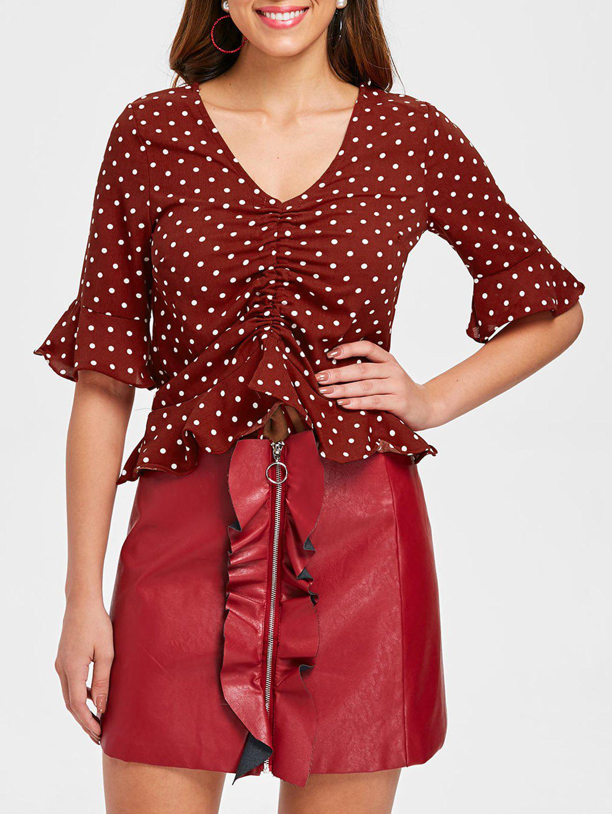 Cheap Drawstring Flounce Dotted Blouse