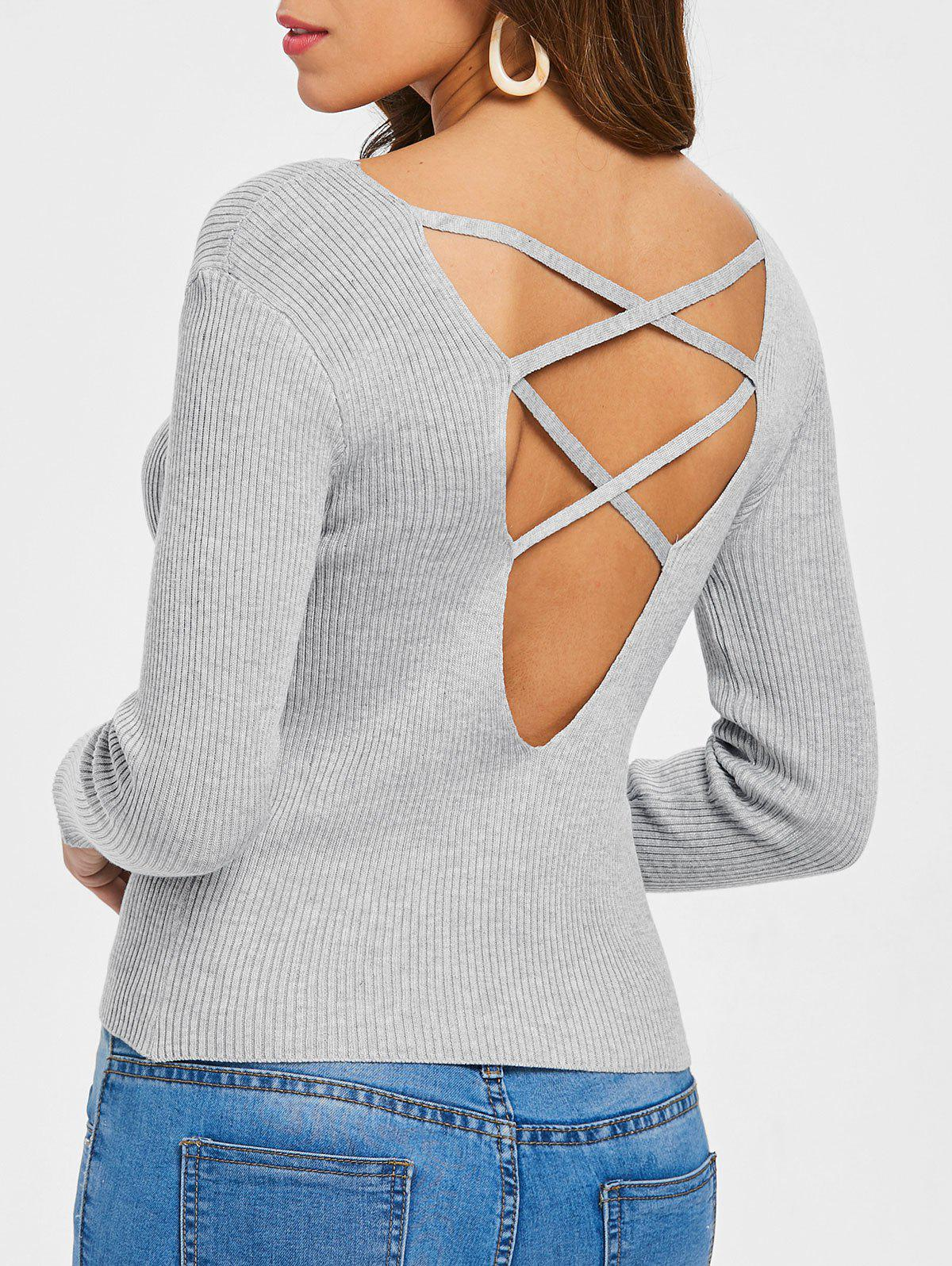 0c15da58c19beb 55% OFF ] 2019 Ribbed Back Criss Cross Sweater | Rosegal.com
