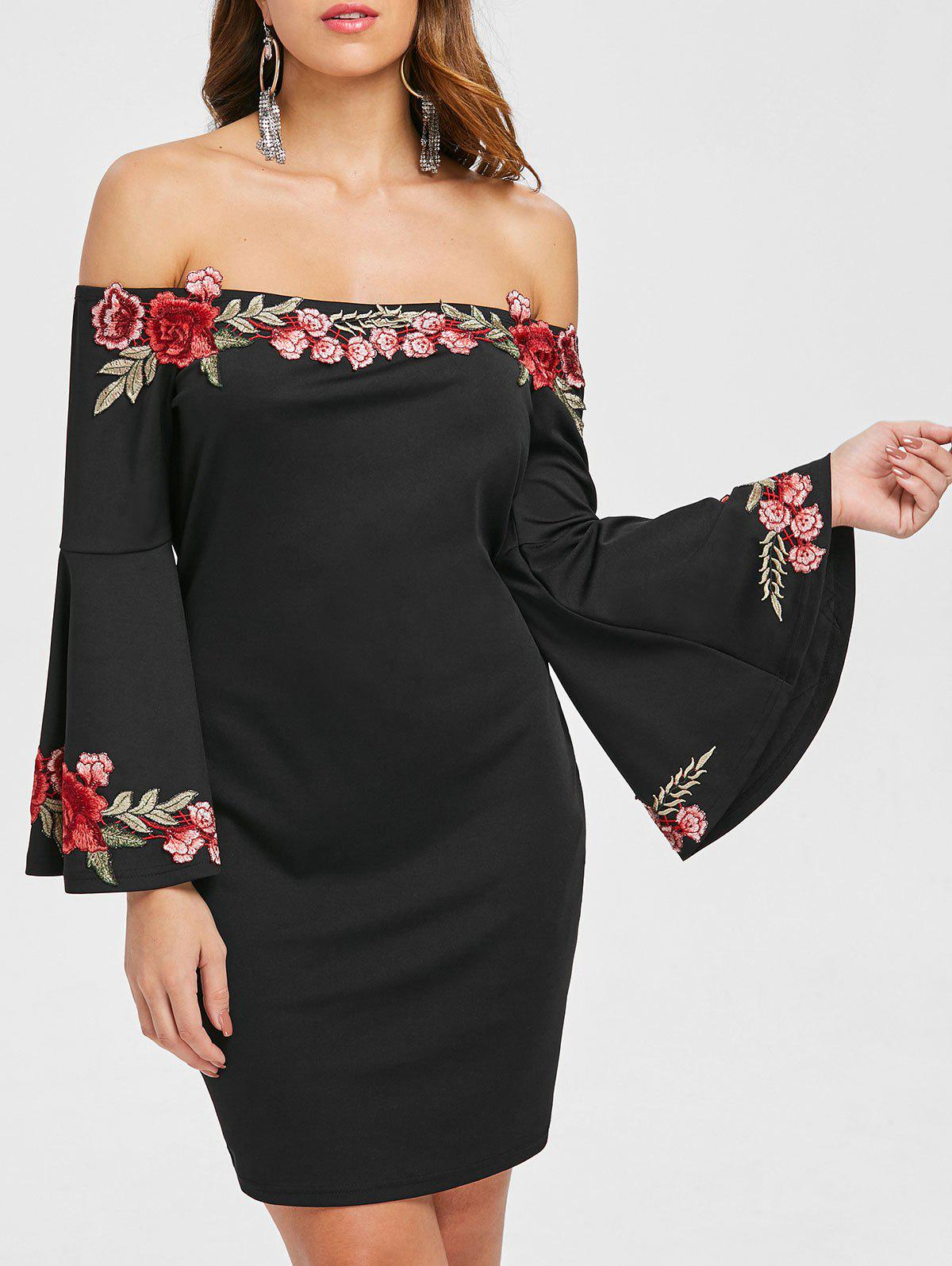 New Floral Embroidery Off The Shoulder Dress
