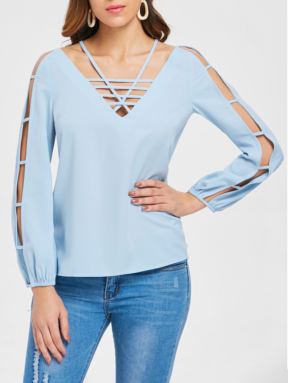 Fancy Long Sleeve Strappy Cut Out Blouse