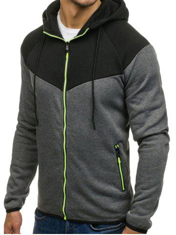 Color Block Full Zipper Side Pocket Fleece Hoodie