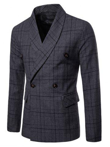 Shawl Collar Double Breasted Plaid Blazer