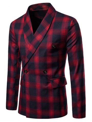 Checked Shawl Collar Double Breasted Blazer