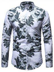 Casual Flowers Leaves Pattern Long Sleeve Shirt -