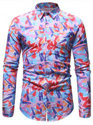 Casual Colorful Print Button Up Shirt -