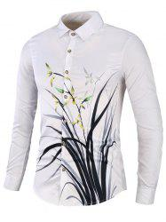 Casual Orchid Print Button Up Shirt -