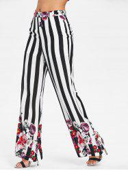 High Rise Stripe Flower Palazzo Pants -