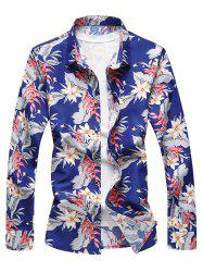 Tropical Flowers Leaves Print Long Sleeve Shirt -