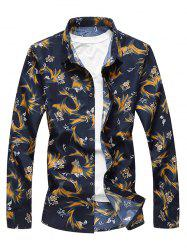 Casual Vintage Floral Print Long Sleeve Shirt -