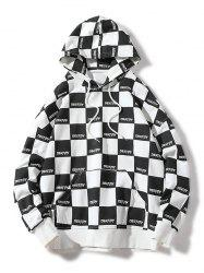 Allover Checked Print Pullover Hoodie -