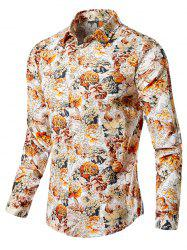 Casual Blossoming Flowers Print Shirt -