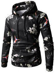 Flower Bird Print Kangaroo Pocket Fleece Hoodie -