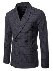 Shawl Collar Double Breasted Plaid Blazer -
