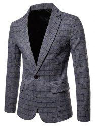 One Button Lapel Collar Check Blazer -