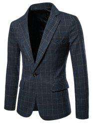 One Button Lapel Collar Checked Blazer -