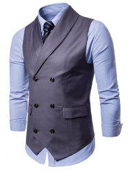 Shawl Collar Solid Color Double Breasted Waistcoat -