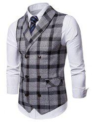 Shawl Collar Double Breasted Plaid Waistcoat -