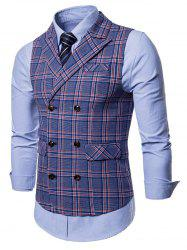 Double Breasted Flap Pocket Plaid Waistcoat -