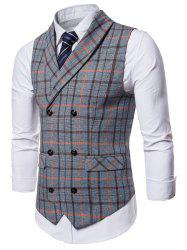 Double Breasted Shawl Collar Plaid Waistcoat -