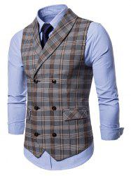 Check Shawl Collar Double Breasted Waistcoat -