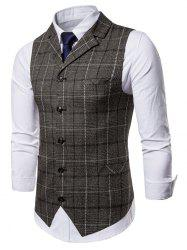 Check Back Belt Single Breasted Waistcoat -