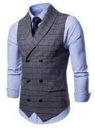 Double Breasted Shawl Collar Check Waistcoat -