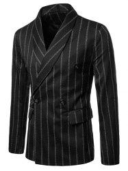 Double Buttons Shawl Collar Stripe Print Blazer -