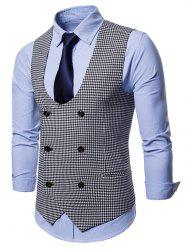 U Neck Houndstooth Double Breasted Waistcoat -