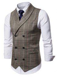 Checked Shawl Collar Double Breasted Waistcoat -