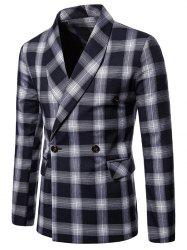Checked Shawl Collar Double Breasted Blazer -