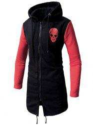 Contrast Color Chest Skull Print Zipper Long Hoodie -