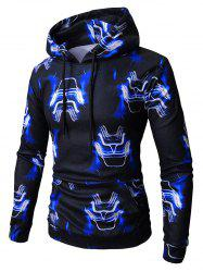 Robot Face Print Elastic Pocket Fleece Hoodie -