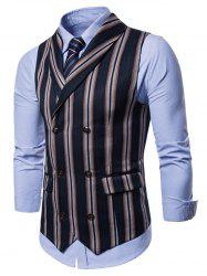 Double Breasted Shawl Collar Stripe Waistcoat -
