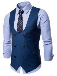 Double Breasted U Neck Solid Color Waistcoat -