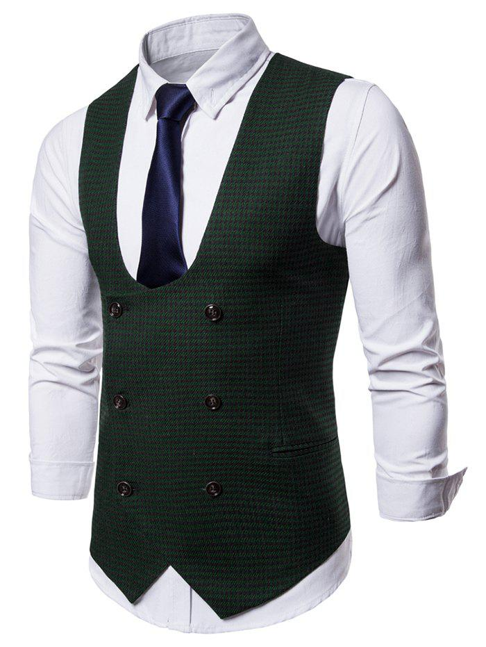 Trendy U Neck Houndstooth Double Breasted Waistcoat