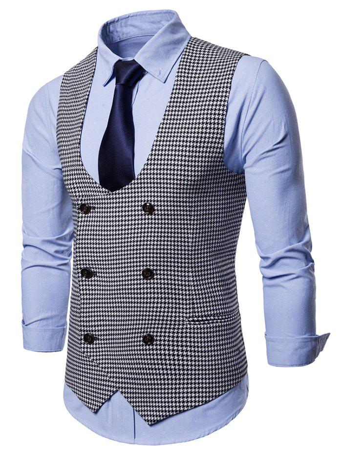 U Neck Houndstooth Double Breasted Waistcoat