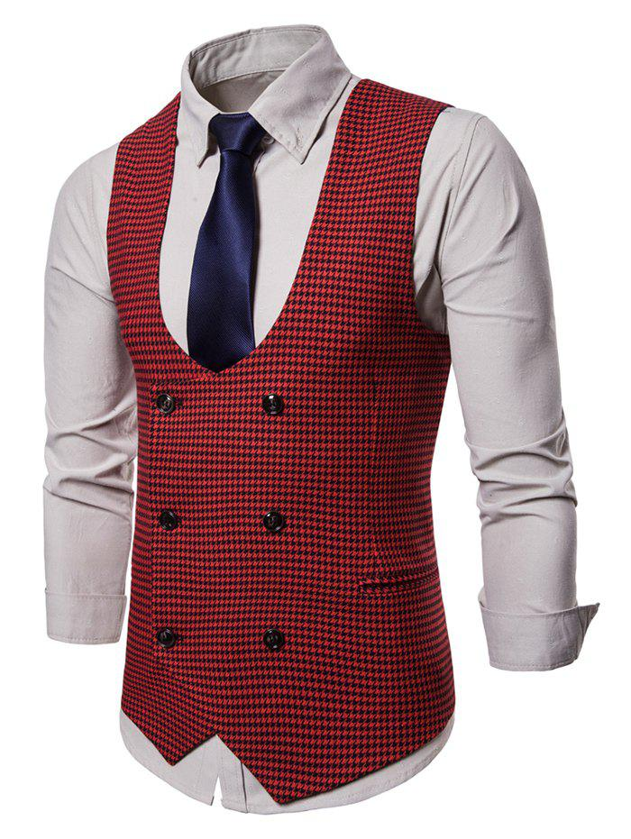 Fancy U Neck Houndstooth Double Breasted Waistcoat