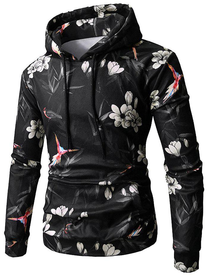 Latest Flower Bird Print Kangaroo Pocket Fleece Hoodie