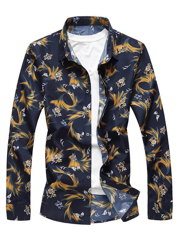 Cheap Casual Vintage Floral Print Long Sleeve Shirt