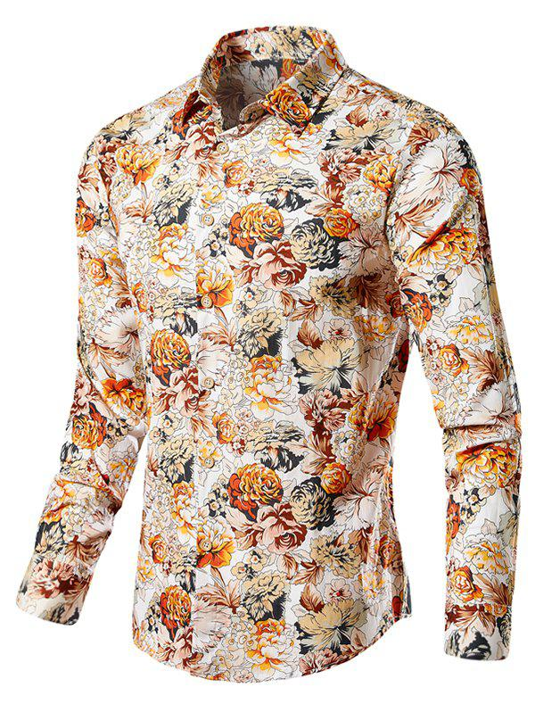 Store Casual Blossoming Flowers Print Shirt
