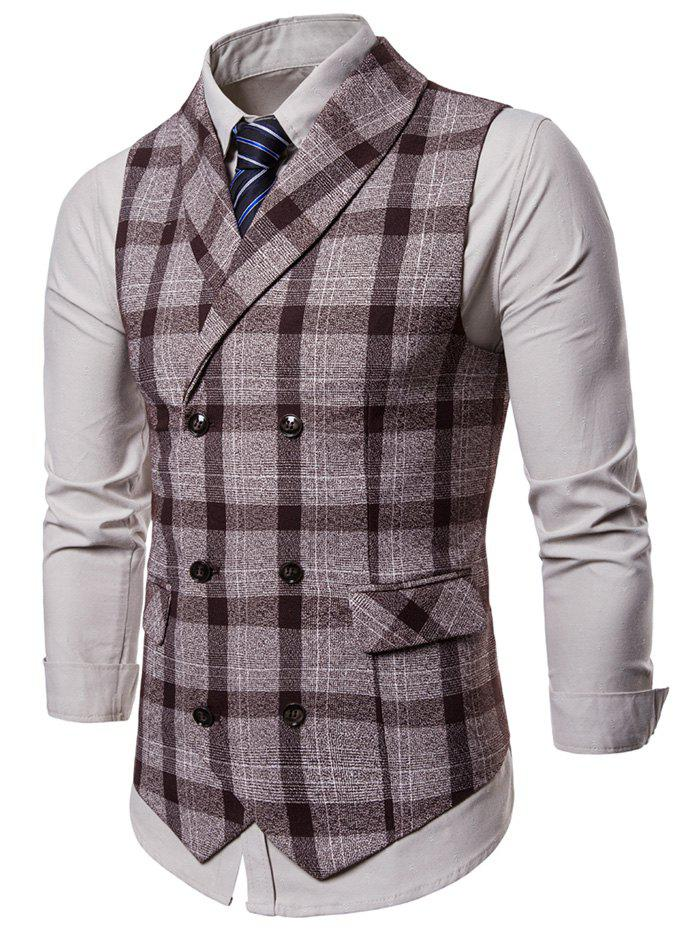 Shops Shawl Collar Double Breasted Plaid Waistcoat