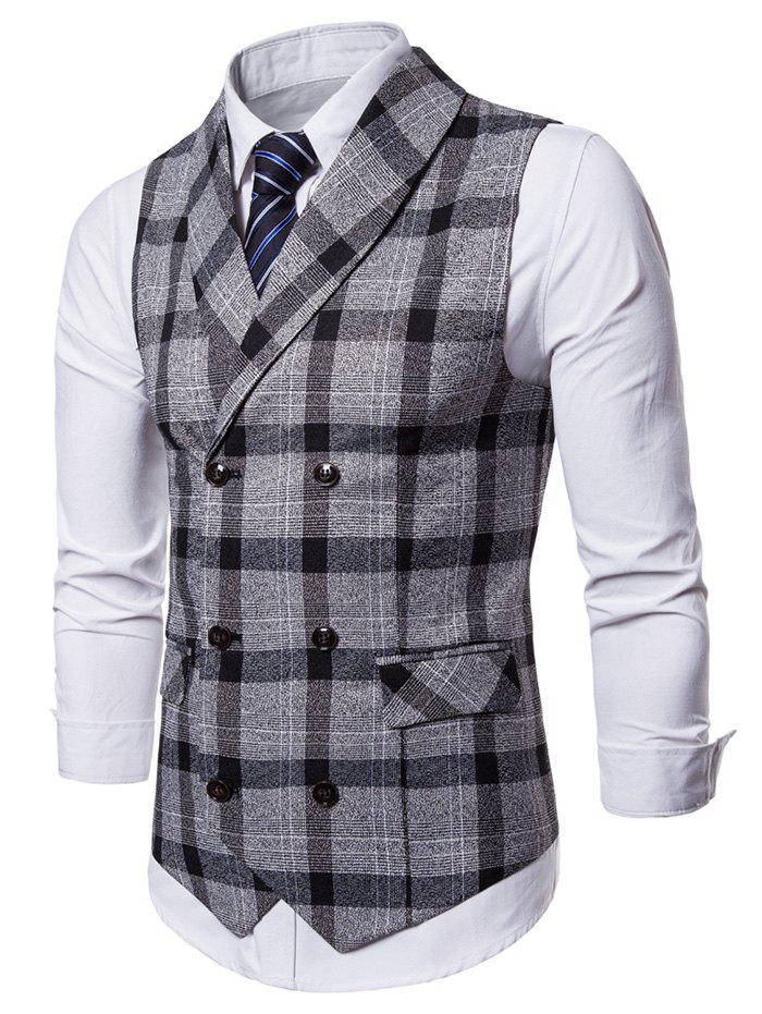 Shop Shawl Collar Double Breasted Plaid Waistcoat