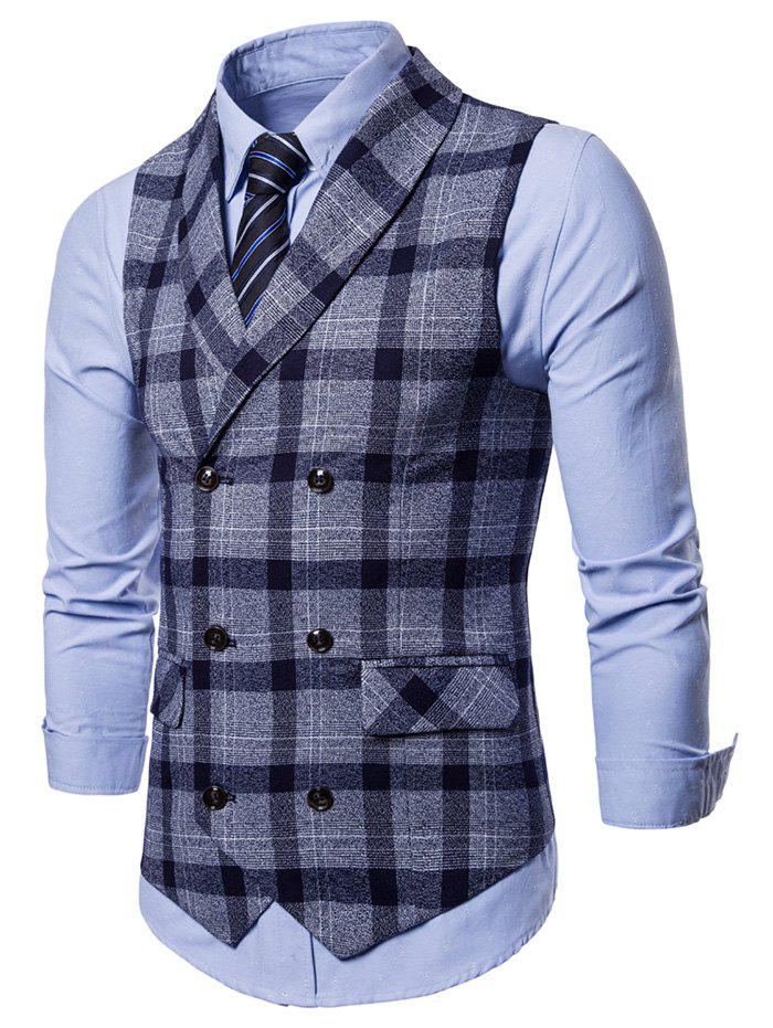 Fancy Shawl Collar Double Breasted Plaid Waistcoat