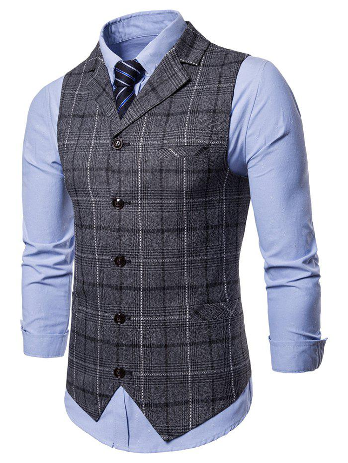 Cheap Check Back Belt Single Breasted Waistcoat
