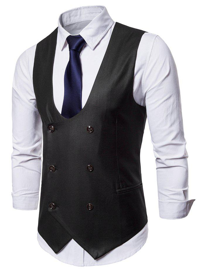 Trendy Double Breasted U Neck Solid Color Waistcoat